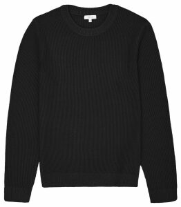 Reiss Humbleton - Textured Crew Neck Jumper in Black, Mens, Size XXL