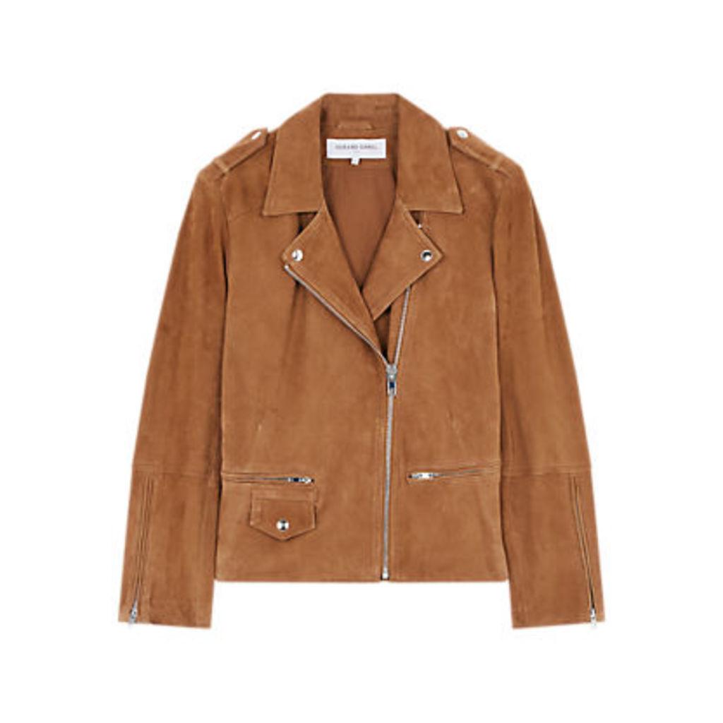Gerard Darel Leather Valeria Jacket, Brown