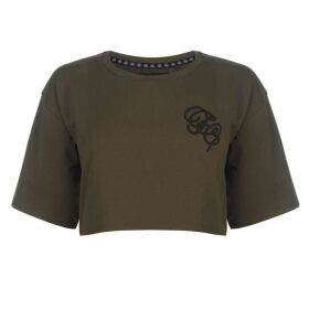 Fabric Embroidered Crop Top - Khaki