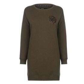 Fabric Embroidered Sweater Dress - Khaki