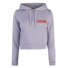 Swallows and Daggers No Thanks Crop Hoodie - Lilac