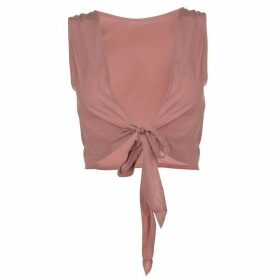Firetrap Blackseal Bow Tie Back Top - Old Rose