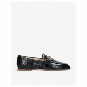 Double T crocodile-embossed leather moccassins