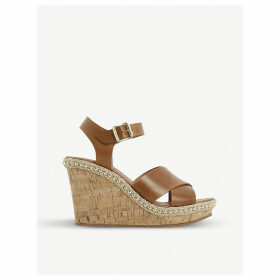 Karena stud wedge heel leather sandals