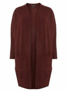 Womens **Dp Curve Burgundy Ribbed Cardigan- Red, Red