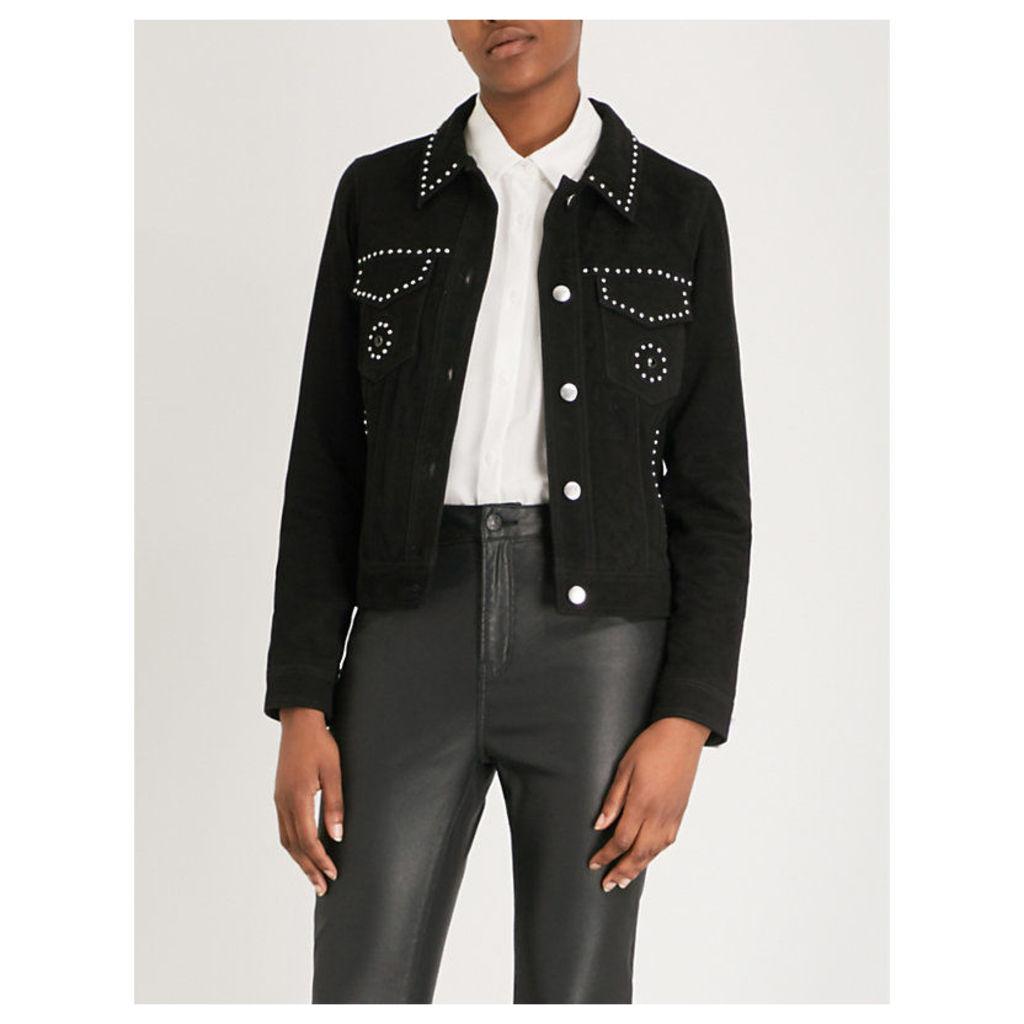 Stud-detail suede jacket