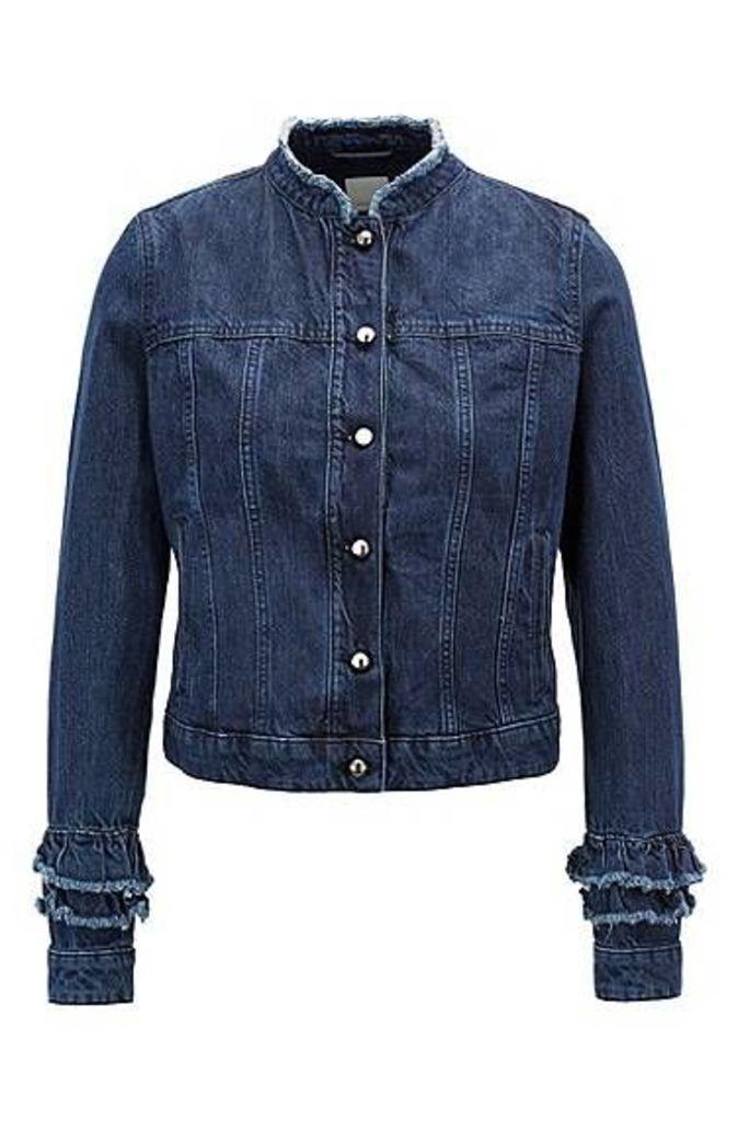 Ruffle-detail jacket in Spanish recycled denim