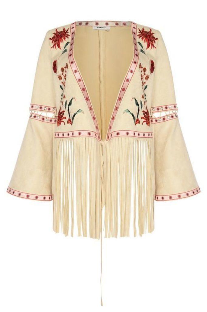Womens **Flared Fringe Festival Jacket by Glamorous - Stone, Stone