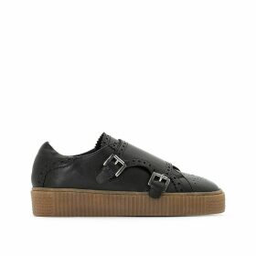 Leather Low Top Trainers with Buckle Strap