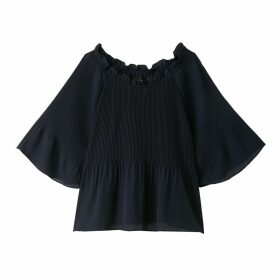 Pleated Bardot Blouse with Ruffled Neckline