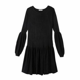Long-Sleeved Flared Short Dress