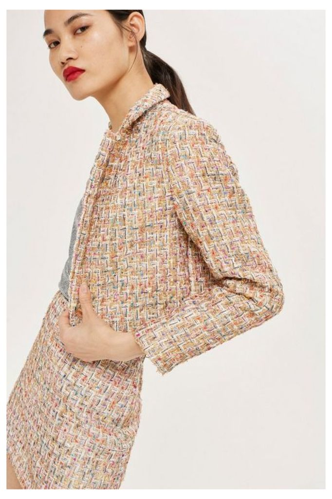 Womens Boucle Cropped Jacket - Multi, Multi