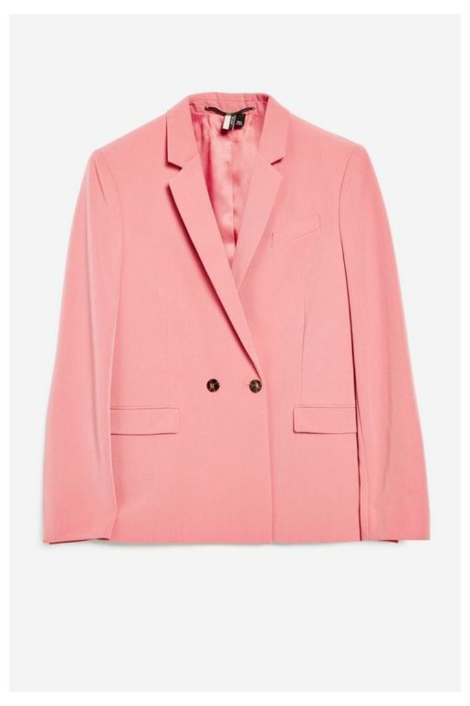 Womens Double Breasted Suit Jacket - Pink, Pink