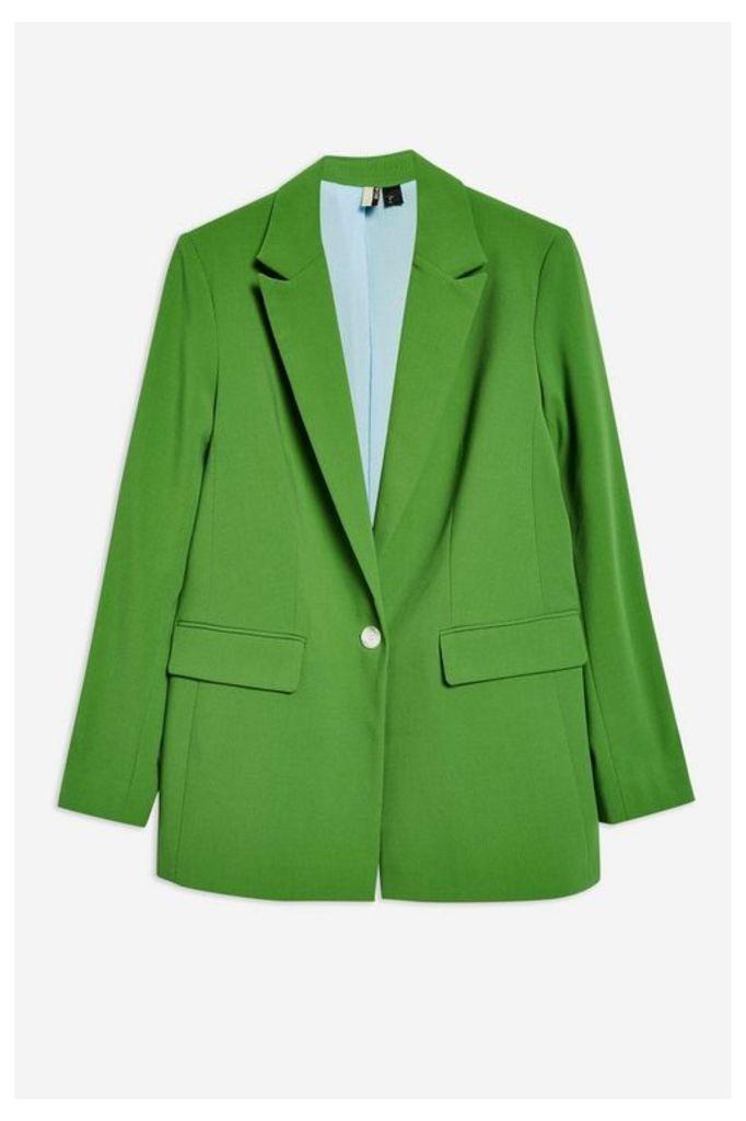 Womens Oversized Suit Jacket - Green, Green
