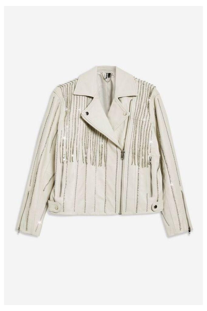 Womens Leather Diamante Biker Jacket - White, White