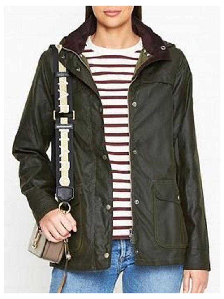 Barbour Watergate Hooded Wax Jacket - Fern, Size 16