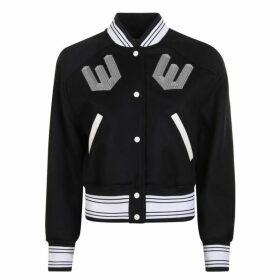 Off White Crop Varsity Jacket