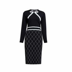 Rumour London - Chloe Bow Jacquard Knitted Dress