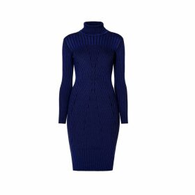 Rumour London - Cleo Blue Two-Tone Ribbed Knit Dress