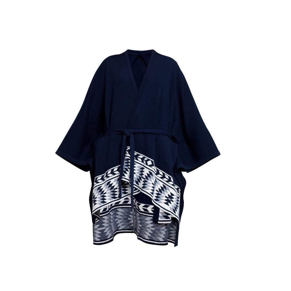 Rumour London - IVANA Wool Merino Cape with Ethnic Motifs