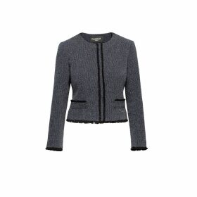 Rumour London - Eleanor Navy and Cream Tweed Jacket with Fringing Detail