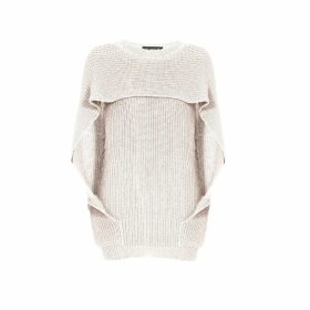 Rumour London - Cara Cape Effect Merino Wool Ribbed Knit Sweater In Cream