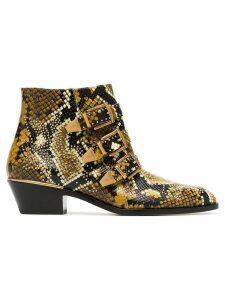 Chloé yellow and black Susanna 30 python print leather boots - 260