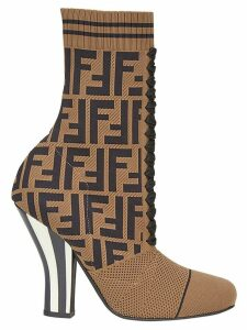 Fendi logo sock boots - Brown
