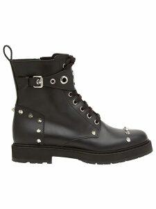Fendi lace-up studded boots - Black