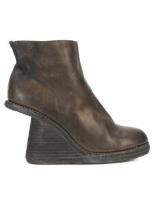 Guidi cut-away stacked wedge boots - Brown