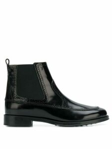 Tod's perforated trimmed ankle boots - Black