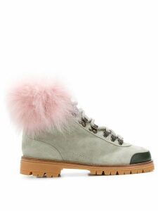 Mr & Mrs Italy fur trim ankle boots - Grey