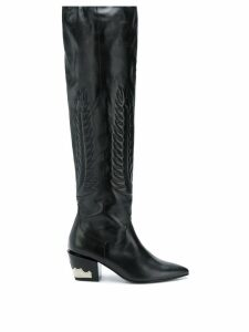 Toga Pulla pointed knee-length boots - Black
