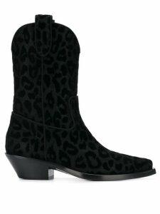 Dolce & Gabbana leopard print cowboy boots - Black