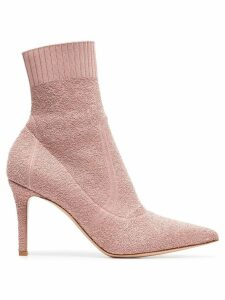 Gianvito Rossi pink fiona 85 bouclé stretch fabric ankle booties -