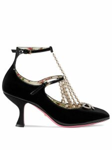 Gucci T-strap leather pump with pearls - Black
