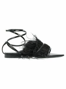 Saint Laurent feather trim ankle strap sandals - Black