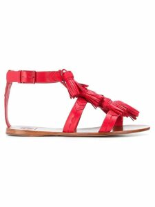 Tory Burch ankle strap tassel sandals - Red