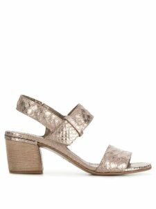Del Carlo 10119 snake embossed sandals - Metallic