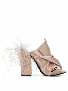 Nº21 embellished block heel sandals - NEUTRALS