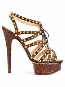 Charlotte Olympia studded platform sandals - 207 MARRON/OR