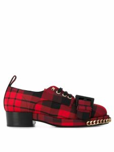 Nº21 check-print lace-up shoes - Red