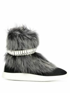 Giuseppe Zanotti Marley fur and crystal hi-top sneakers - Black