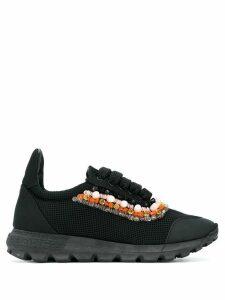 No Ka' Oi beaded trim lace-up sneakers - Black
