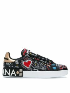 Dolce & Gabbana Portofino mural print sneakers - Black