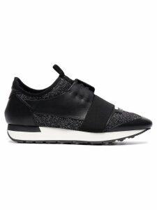 Balenciaga black glitter race runner sneakers