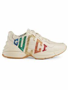 Gucci Rhyton glitter Gucci leather sneaker - White