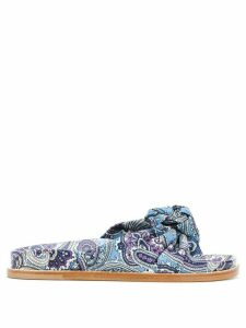Etro knotted paisley slides - Blue