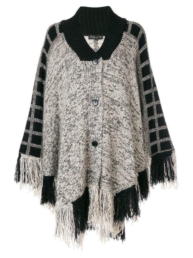 Etro knitted fringe cape - Black