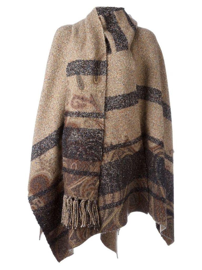 Etro striped cape - Brown